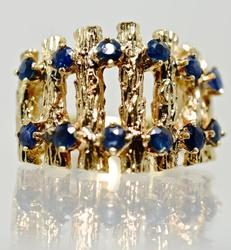 Unique 14K Modern Sapphire Ring