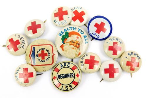 13 Early Red Cross Pins