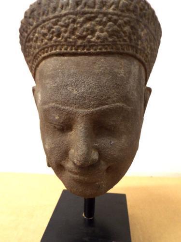 Antique Cambodian Khmer Royalty Sandstone head Statue