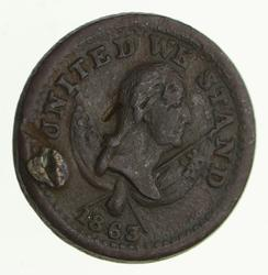 1863 Civil War Token - Broas Brothers Pie Bakers - United We Stand