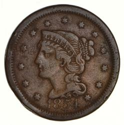 1854 Braided Hair Large Cent - Circulated