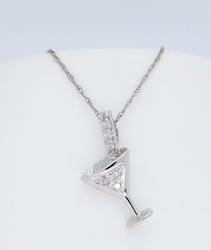 14K White Gold Diamond Martini Glass Necklace