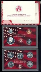 Rare 1999 9-Piece Silver US Proof Set. Box/COA