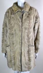 Designer grey section fur mink 3/4 coat