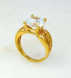 Dazzling CZ Ring in Gold, Size 6