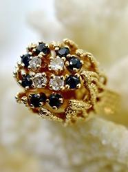 Flower-Like 14K Sapphire & Diamond Ring