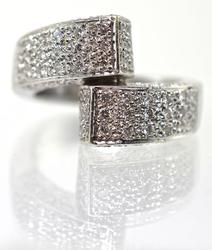 Fashionable 14K White Gold Diamond Bypass Ring