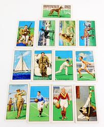 13 Early Sports Champions Tobacco Trade Cards