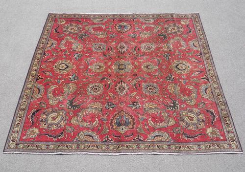 Semi Antique All-over Persian Tabriz 7.4x7.4