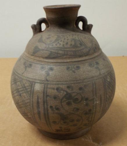 Antique Khmer Cambodian Stoneware Whisky Tankard Bottle