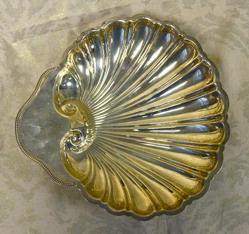 Large 10 inch Footed Shell Bowl, Sterling
