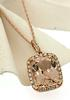 Spectacular Morganite & Diamond Halo Pendant Necklace