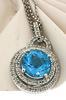 Magnificent Blue Topaz & Diamond Pendant Necklace