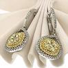 Chic Yellow & White Diamond Dangle Earrings