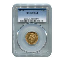 Certified US Gold $3 1878 MS62 PCGS