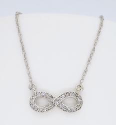 14K White Gold Infinity Diamond Necklace