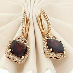 Elegant Rhodalite Garnet & Diamond Dangle Earrings