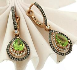 Peridot & Multi Color Diamond Dangle Earrings