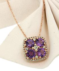 Lovely 4 Square Amethyst & Diamond Pendant Necklace