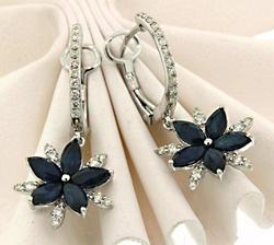 Fabulous Sapphire & Diamond Dangling Star Earrings