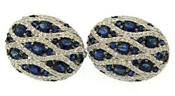 Luxurious Oval Buttons of Sapphires & Diamonds