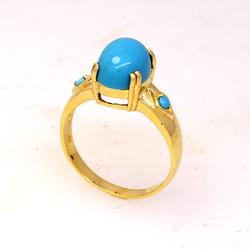 Turquoise Ring Set in Gold, Size 7