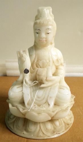 Breath Taking Marble Guan Yin Statue - Chinese Goddess Masterpiece