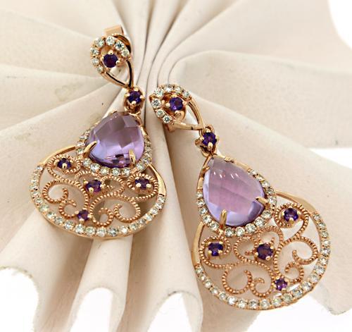 Dreamy Amethyst and Diamond Filigree Dangle Earrings