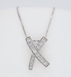 14K White Gold Diamond X Necklace