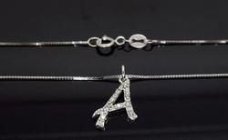 14K White Gold Diamond A Necklace