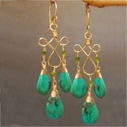 Gold Ladies Peridot and Turquoise Drop Style Earrings