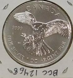 2014 One Ounce .9999 pure Silver Canadian Falcon.