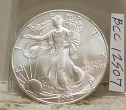 2002 Uncirculated Silver Eagle, one ounce .999 Silver