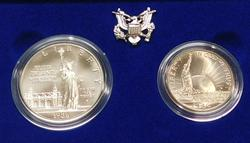 1986 2 pc PROOF Liberty Silver Dollar & Clad Half