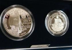 1992  2 piece PROOF Columbus set, Silver Dol & Clad H