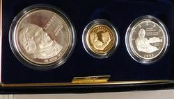 1993  3 pc PROOF Bill of Rights Gold $5/Sil Dol/Sil Hf