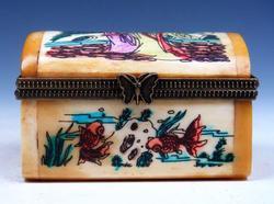 Hand Painted Bone Hand Crafted Trinket Box