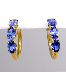 2ctw Tanzanite & Gold Hoops