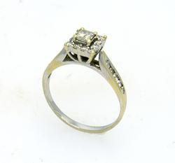 Diamond Engagement Ring in White Gold, Size 6.5