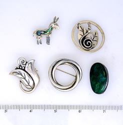 Estate Lot of Five Pins, All Sterling