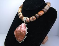 Heavy Statement Stone Necklace with Large Pendant