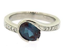 Dazzling Synthetic Alexandrite & Diamond Ring