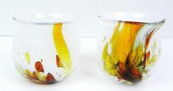 2 Holmesgaard Denmark Art Glass Votives