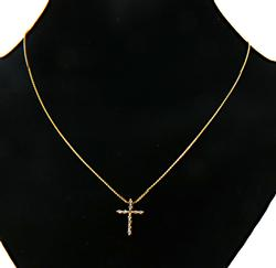 14KT Diamond Cross Pendant Necklace