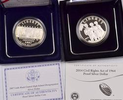 2 Proof Modern Comm Silver $ with Boxs and Papers