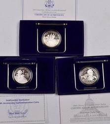 3 Proof Modern Comm Silver $ with Boxs and Papers