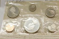1965 Canada Silver (80%) Mint Set, w/ Silver Dollar.  N