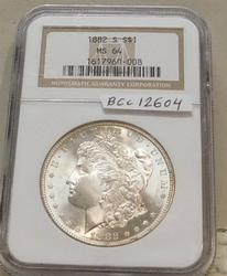 1882-S Morgan Dollar, NGC MS-64