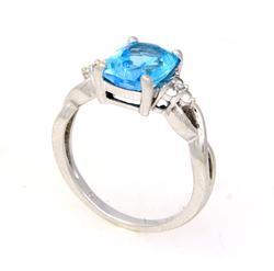 Blue Topaz White Gold Ring, Size 6