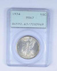 MS63 1934 Walking Liberty Half Dollar - PCGS Graded